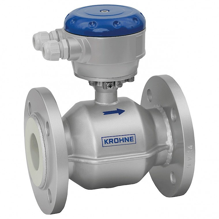 Krohne OptiFlux electromagnetic flow meter with compact converter.