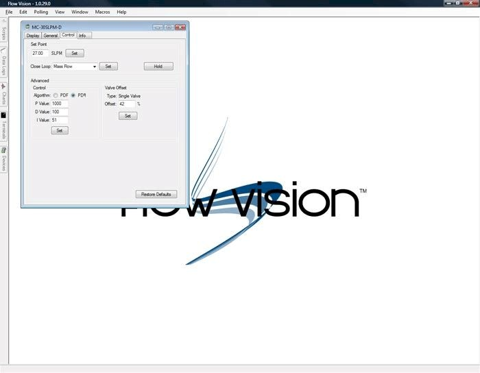 Alicat FlowVision SC software screen shot